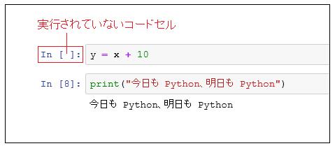Jupyter 実行されていないコードセル