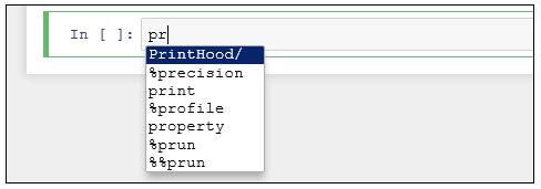 Jupyter コード補完 property