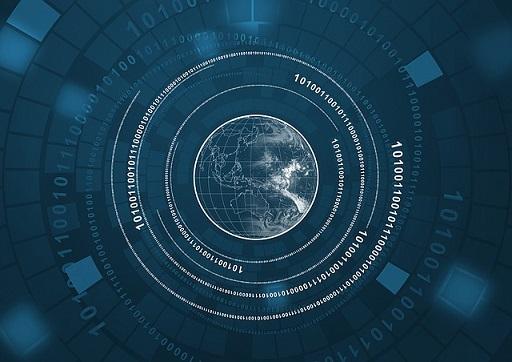digit circle around earth 地球を取り囲むデジタル数字